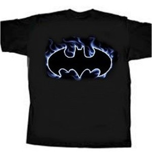 Blue outline flame bat logo Batman shirt