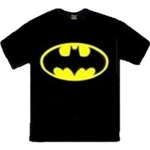 Classic black and yellow bat logo batman shirt