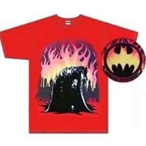Batman shirt with Batman on one knee with Gotham City engulfed in flames