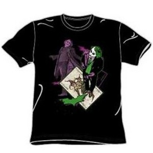 This tee shirt features an image of Heath Ledger as the Joker standing on a playing card