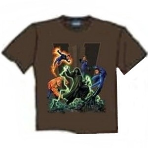 Fantastic 4 fighting Dr Doom movie t-shirt