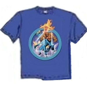 Fantastic Four members blue retro drawing t-shirt