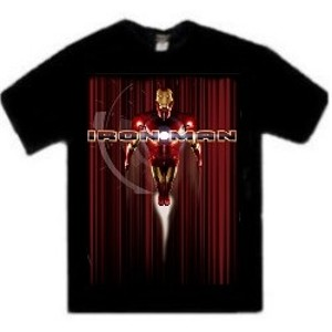 Iron Man flying with Iron Man movie t-shirt
