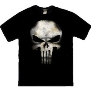 White skull Punisher logo t-shirt
