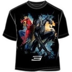Black and red Spiderman 3 movie poster t-shirt