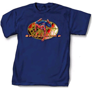 This Spiderman t-shirt features Spiderman crawling on his web and is for the Spiderman 2 movie