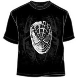 Metallic Spider-man face tee shirt with radioactive spider logo in background