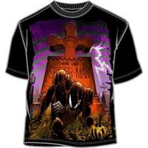 Here Lies Spiderman dead Venom crawling from the grave bright ink t-shirt