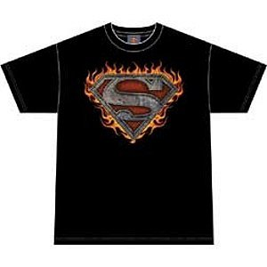 Superman super flame s shield logo t-shirt