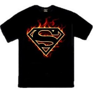 Flame Superman logo t-shirt