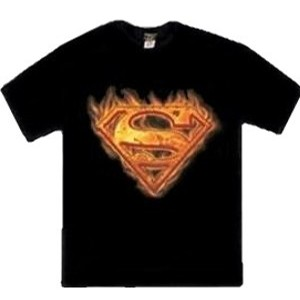 Superman flame and fire steel metal logo t-shirt
