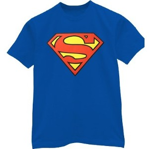 Classic red, yellow, and blue S shield Superman t-shirt