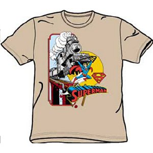 Superman saving a train t-shirt
